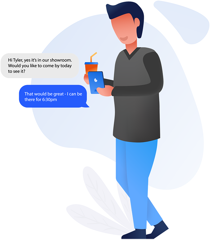 graphic of happy customer texting